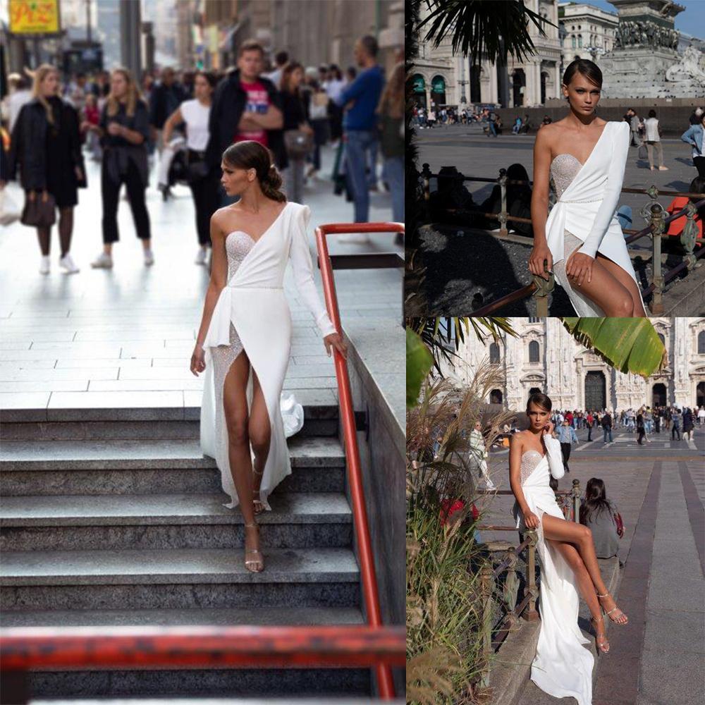 Julie Vino sirena vestidos de boda atractivo del hombro delantero de Split las lentejuelas vestidos de novia de la playa de barrido tren vestido de novia