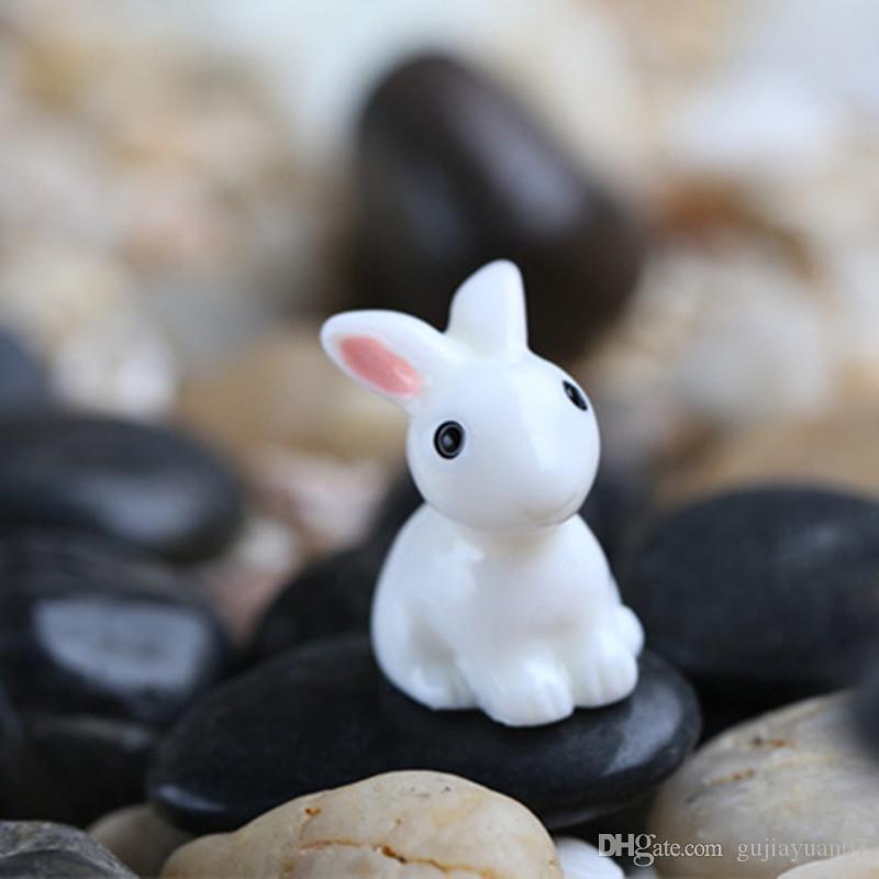XBJ007 Mini 2 adet Mini Tavşan Craft Bahçe Süs Reçine Meslekler Dekor Teraryumlar Figürinleri Peri Garden Party Bahçe