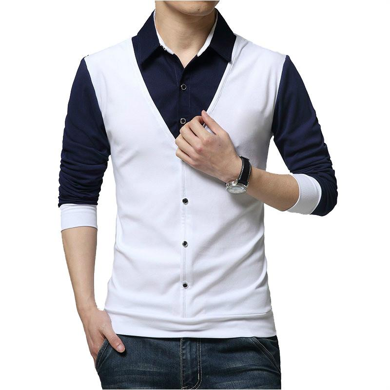 TFETTERS Autumn Mens T Shirts Fashion 2019 Fake Two Clothing Cool T-shirt Men Long Sleeve T Shirt Casual Male Y200104