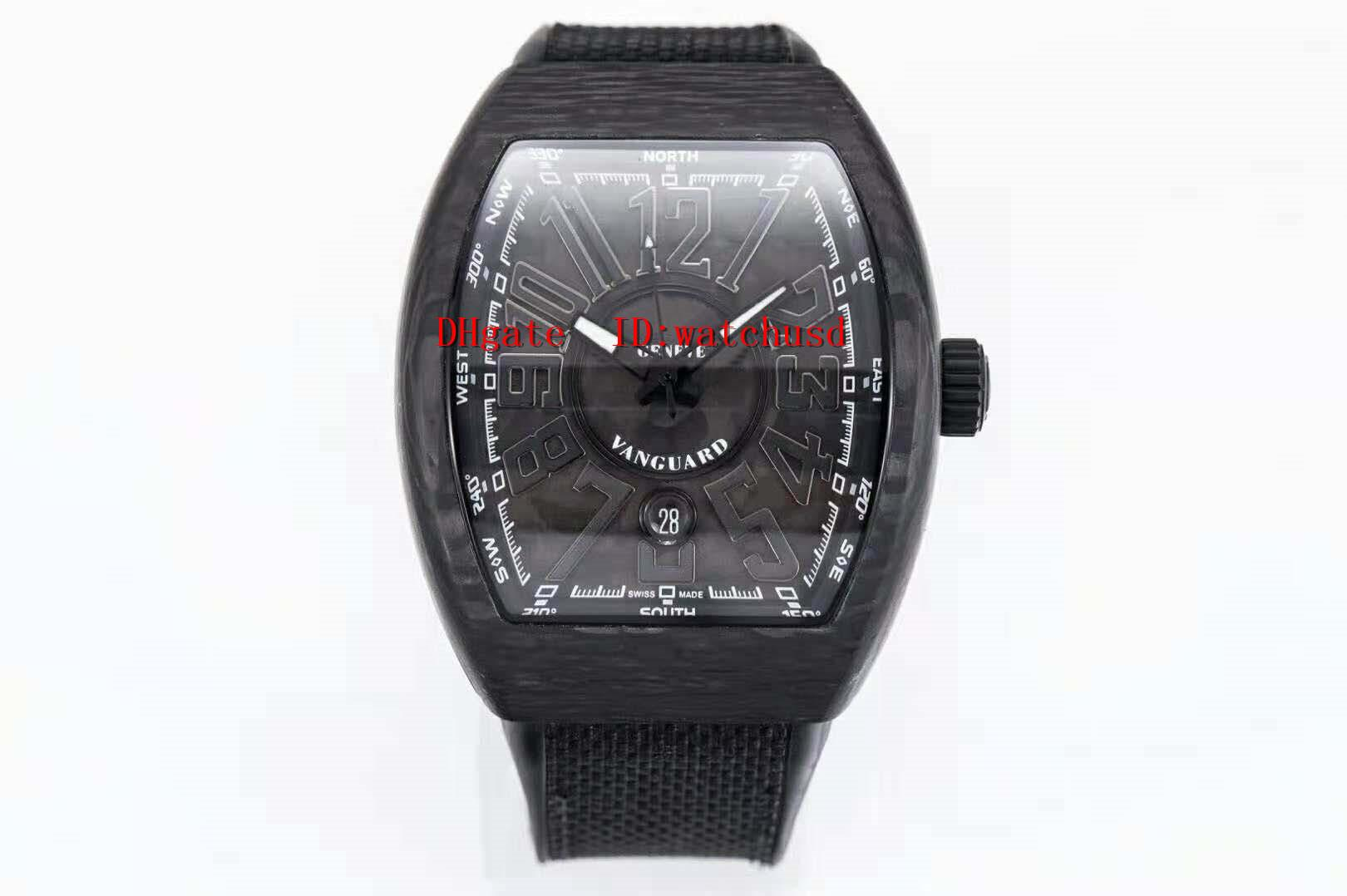 RF Factory Super Luminous наручные часы 44 мм Carbon Fiber Watch Sapphire Waterproof Tonneau мужские часы автоматические механические твердые задняя крышка