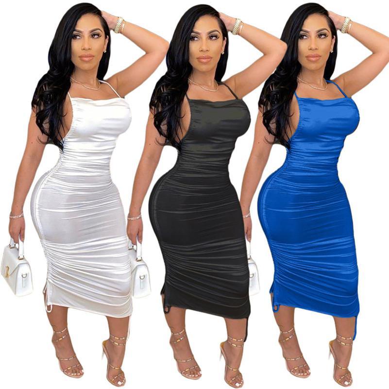 Womens designer sleevelesss gallus mid-calf Dreses one piece dress skirt tights maxi Dresses backless clubwear hot women clothes3521