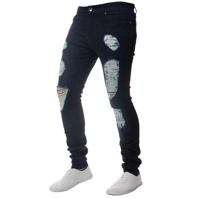 Crayon Jeans d'été Pure Color Skinny Jeans Hommes Pure Color Denim Cotton Vintage Wash pantalon hanche crayon Pantalon de travail Pantalons