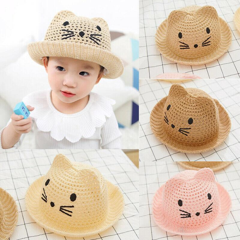 Cartoon Cat Hat for Women Breathable Wide Brim Lace Cat Ear Sun Hat Outdoor Lad