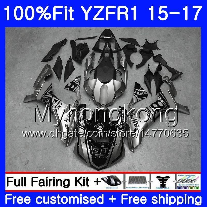ヤマハYZF R1 1000 YZF-R1 15 16 17 243hm.0 yzf-1000 YZF R 1 YZF1000 YZFR1 2015 2016 2016 2017フェアリゾートキット光沢シルバーブラック