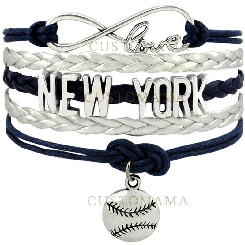 (10 шт./лот) бесконечность любовь Нью-Йорк Бейсбол Шарм многослойный браслет подарок для любителей бейсбола темно-синий серебристо-серый кожа
