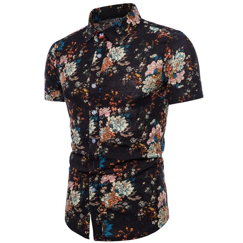 Plage impression chemise mode Shirt Slim Fit Hommes manches courtes pour hommes plage