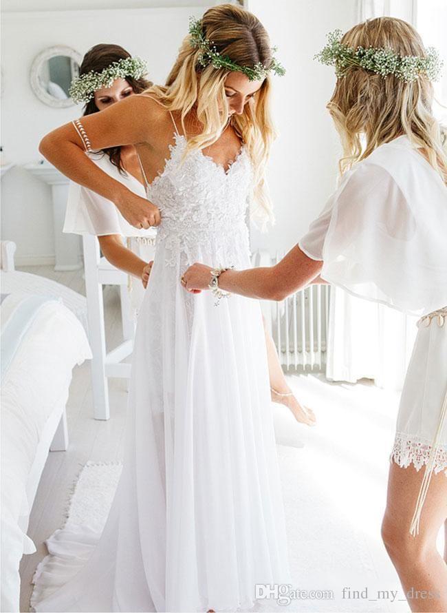 V praia Chiffon Backless Spaghetti Bainha vestido de casamento Sexy Lace Novos drapejado apliques vestidos de noiva Custom Made neck Trem da varredura