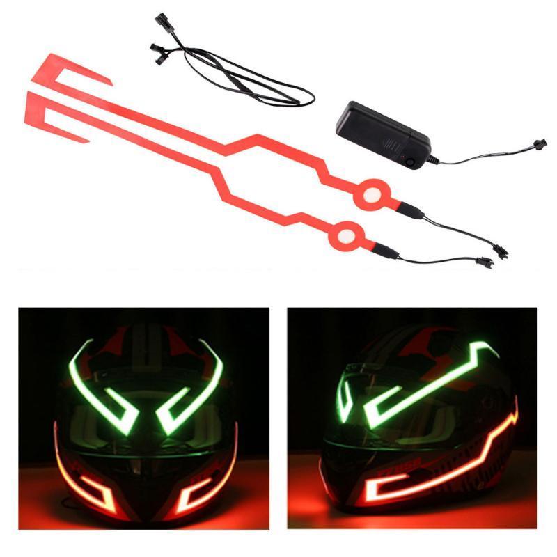 2 pièces étanche Casque moto Lumière Signal EL Riding Strip clignotant LED Bar Durable Kit 3 Modes Scooter Casque