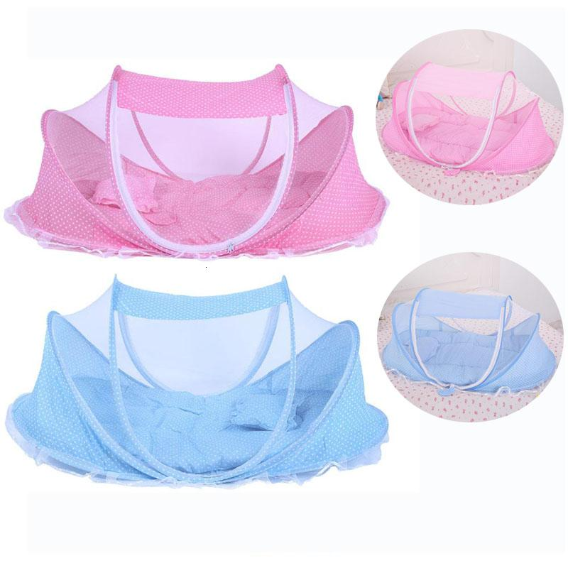 Baby Bedding Crib Netting Folding Baby Music Mosquito Nets Bed Mattress Pillow Three-piece Suit For 0-2 Years Old Children SH190917