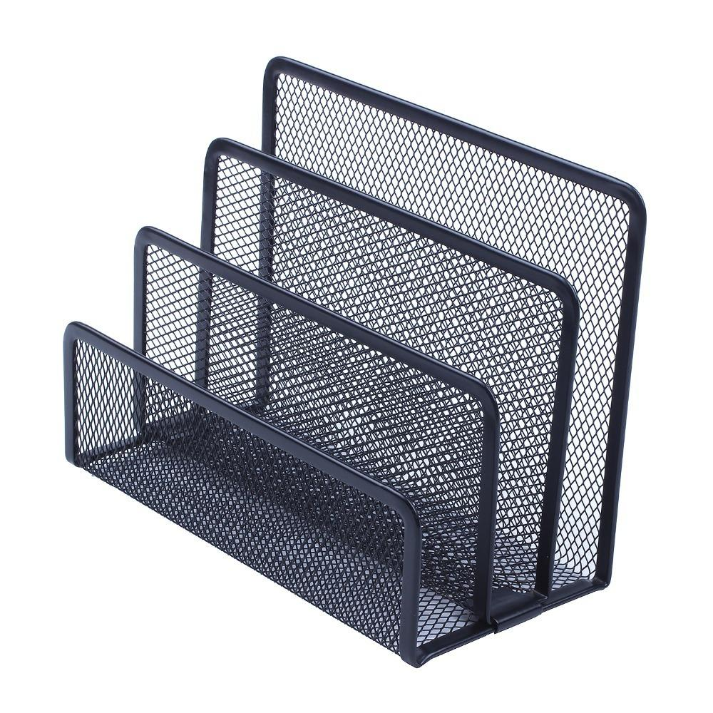 Black Metal Mesh Desk Organizer Desktop Letter Sorter Mail Tray File Organiser Office Home Bookends Book Holder Document Trays