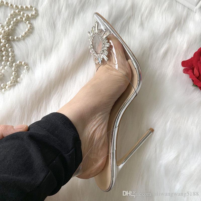pvc mujeres de la señora de plata de la patente 2020 de boda de cuero cristalina del Rhinestone talón abierto Poined dedos de los pies zapatos de tacones de aguja de tacón alto sandalias de las bombas