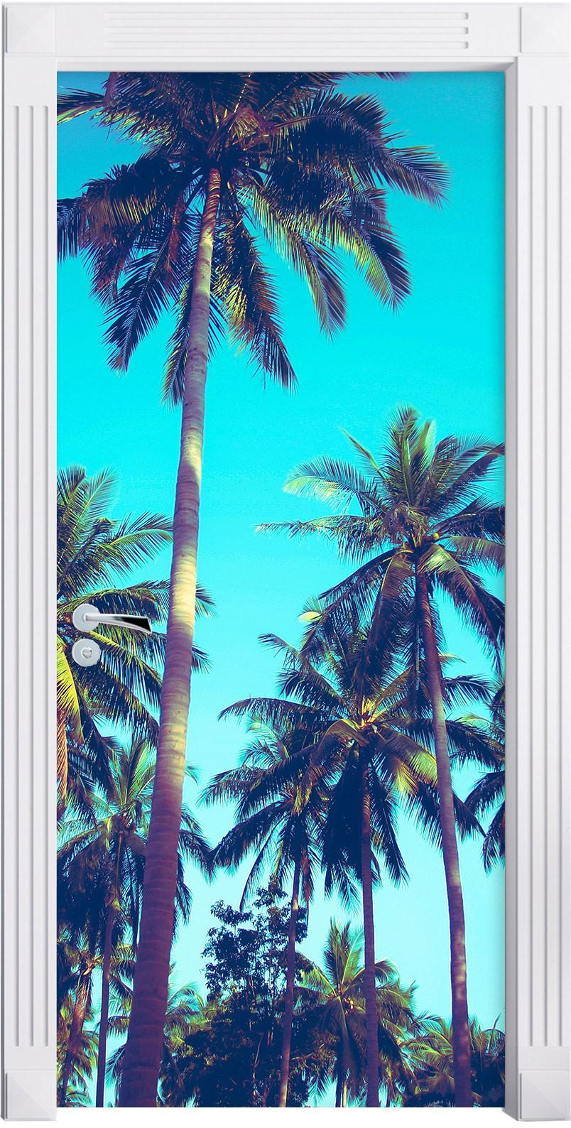 Free Shipping DIY Door Sticker Palm Trees Door Decals Decorations For Bedroom Living Room Wallpapers Decal Home Accessories