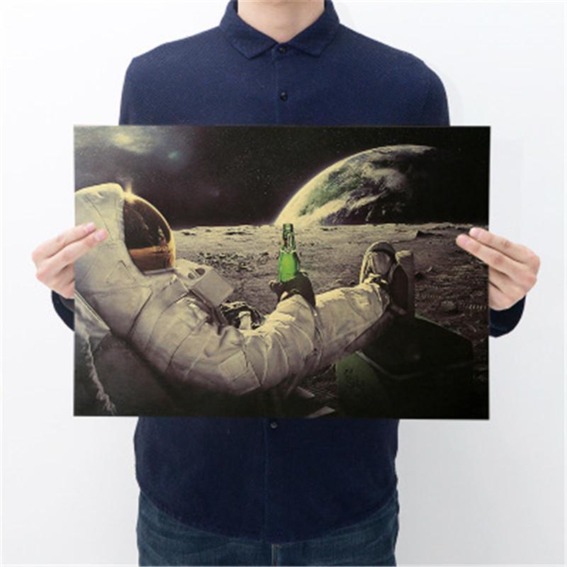 Астронавты Классический Outer Space Earth Попить Расслабляющая Moon Landing Фэнтези Kraft Paper Poster Home Decor стикер стены