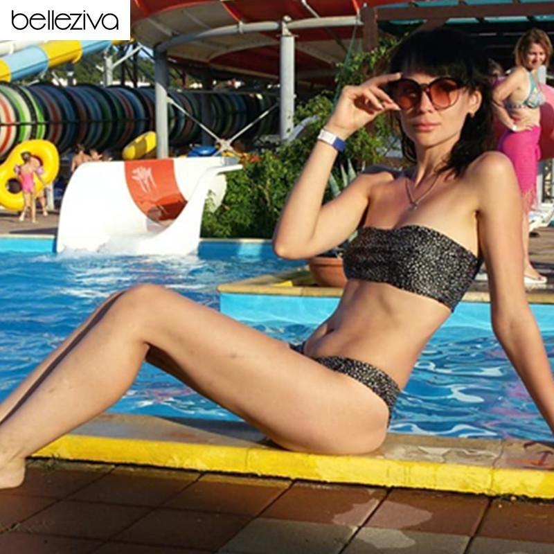 Belleziva Femmes Bikinis Ensemble imprimé léopard Bandeau Bikini Maillot de bain femme sexy bretelles Maillot de bain brésilien Biquni