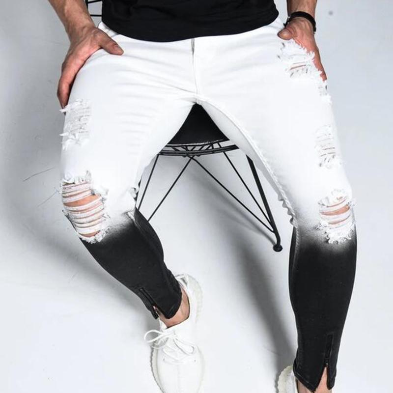 Dégradé Couleur Jeans Hommes Casual Ripped Slim Fit Skinny Jeans Homme Marque du moteur Biker Hip Hop Pantalon Zipper Denim pantalon