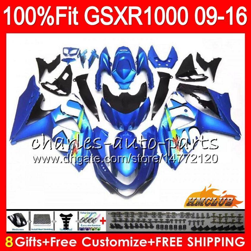 Inyección para SUZUKI GSXR 1000 GSXR-1000 09 10 11 2009 2010 2011 16HC112 K9 GSXR1000 12 13 15 16 2012 2014 2015 2016 azul claro caliente Carenados