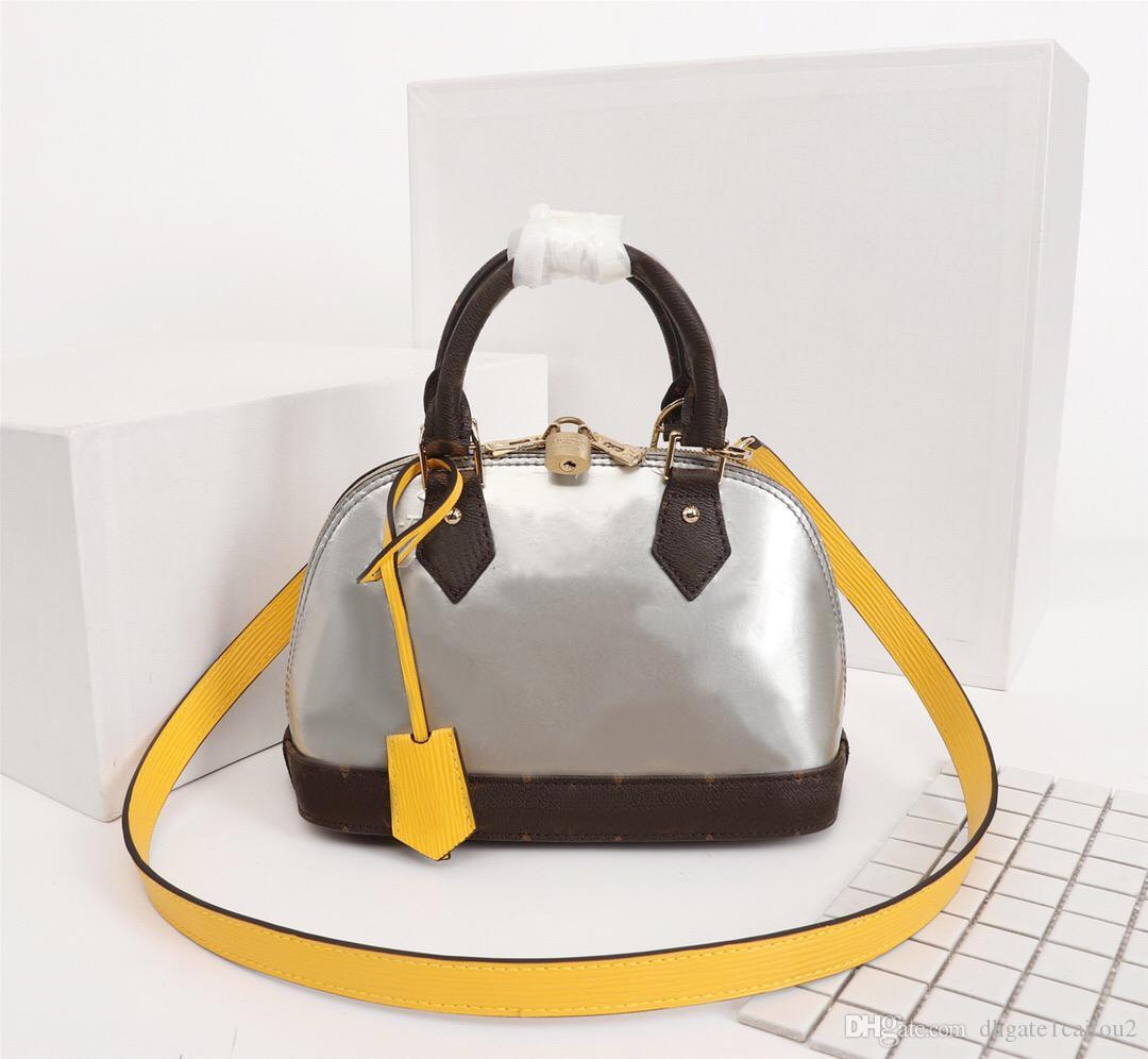 Orijinal Yüksek Kaliteli Tasarımcı Lüks Çantalar Cüzdanlar ALMA BB Çanta Bayan Marka Bez Betrun Rugan Shell çanta Gerçek Deri Omuz Çantaları