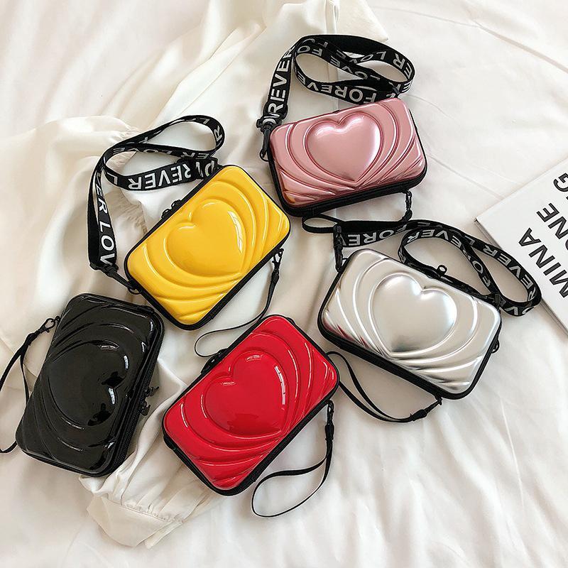 Los bolsos de mano modelo del corazón para las mujeres mini bolso de la caja en forma de bolsas de hombro del bolso de mano femenina cáscara dura del bolso diagonales