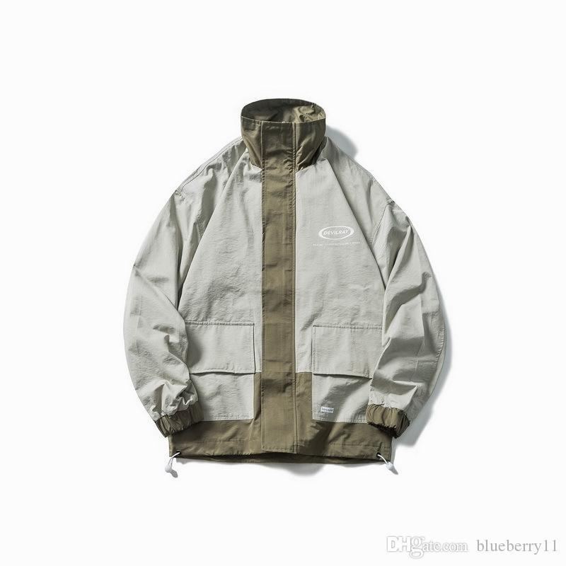 가을 바느질 멀티 포켓 공구 재킷 남성 스포츠 캐주얼 느슨한 힙합 긴팔 칼라 재킷 2019 남성 패션