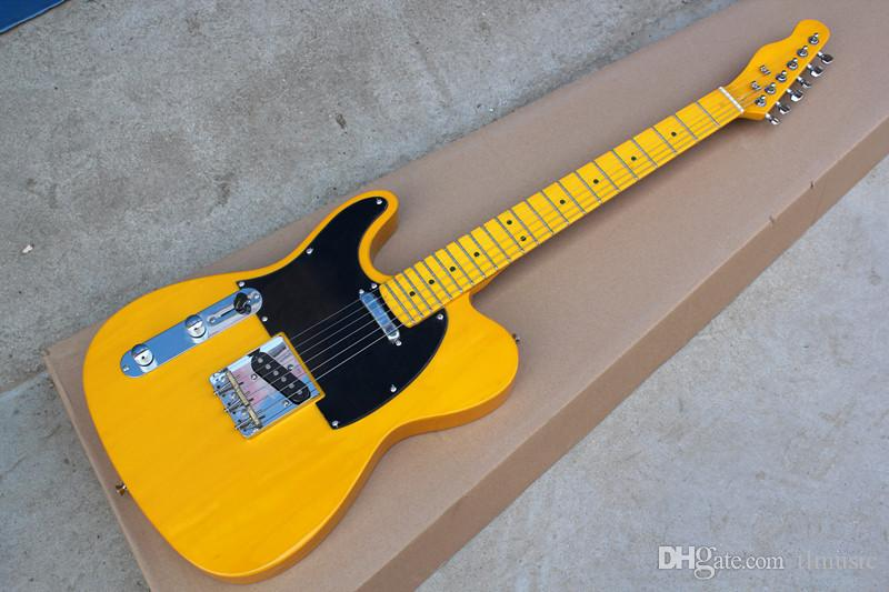 Hot Yellow Left Handed Electric Guitar with Black Pickguard,Yellow Maple Fretboard,Chrome Hardwares,offering customized services