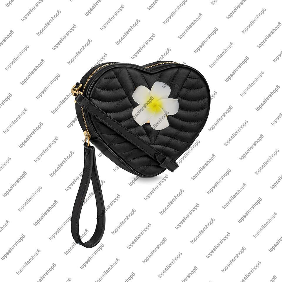 Bolso del corazón de la ola mujer Lady Becerro de cuero Bolso de cuero Crossbody Clutch Wristlet Bag Bolsa de hombro