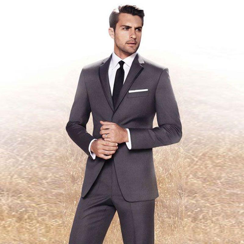 새 도착 남자 정장 슬림 맞는 단정 한 옷깃 결혼식 정장 재킷과 바지와 남자 디자이너 신랑 턱시도 두 조각 블레 이저