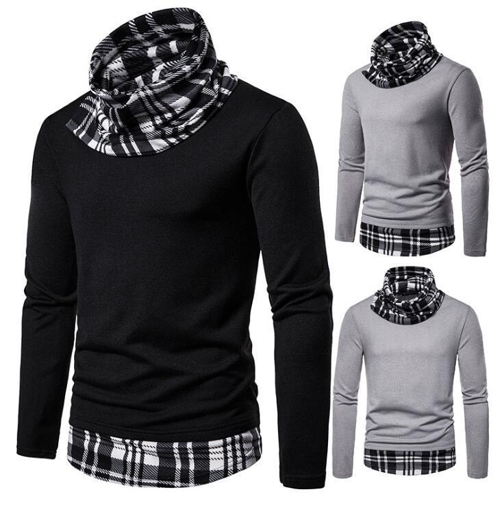 Camicie Primavera Uomo Autunno manica lunga slim fit a quadri Streetwear Ufficio Patchwork Pile Camicie Mucchio maschio sociali Tops Abbigliamento