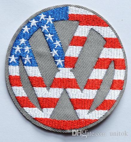 (Größe: ca. 7,9 cm) ~ Kreis der USA Flagge USA Punk Rockabilly Applikation Eisen auf Flecken