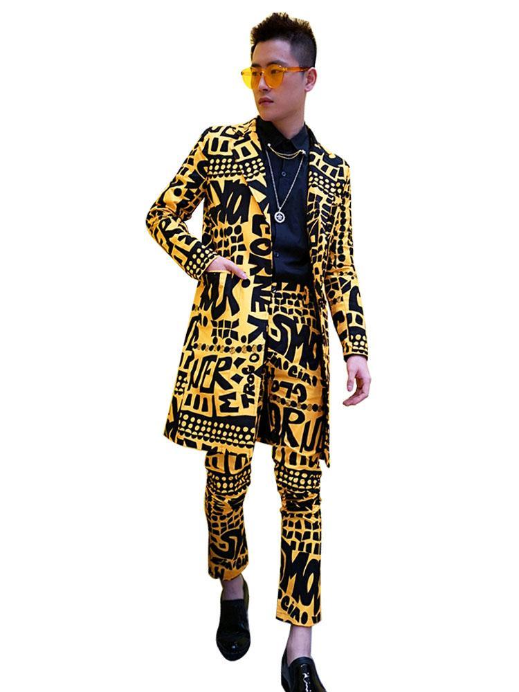Hommes Longs Costumes Décontractés Ensembles (veste + pantalon) Homme Slim Fit Blazer Costume Jaune Veste Discothèque Stage Scénar DJ Vêtements