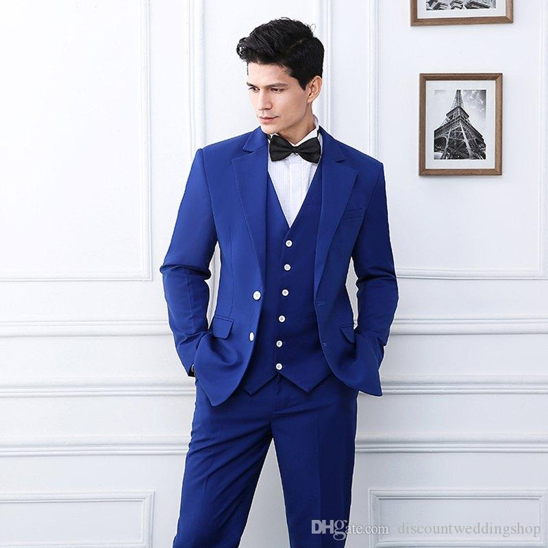 Último diseño Dos botones Royal Blue Novio Esmoquin Muesca Solapa Hombres Banquete de boda Trajes de padrino de boda (chaqueta + pantalón + chaleco + corbata) K34