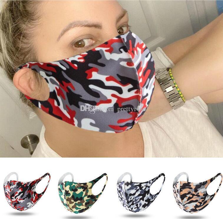 máscaras adultos Moda anti polvo camuflaje Máscaras PM2.5 boca cubierta de polvo reutilizable Máscara de filtro transpirable cara mufla Hombres Mujeres respirador