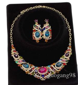 mode vente chaude bas prix haute qualité 2set / lots mariée mariage diamant cristal femmes ensemble collier boucles d'oreilles 18ty