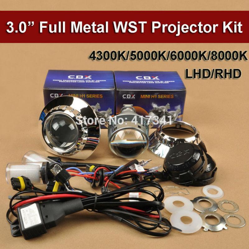 3 pulgadas del metal de HID Bi Xenon lente del proyector Kit ZKW Máscara LHD / RHD 35W 12V H1 lámpara de xenón 4300K-8000K para la linterna del coche H4 H7