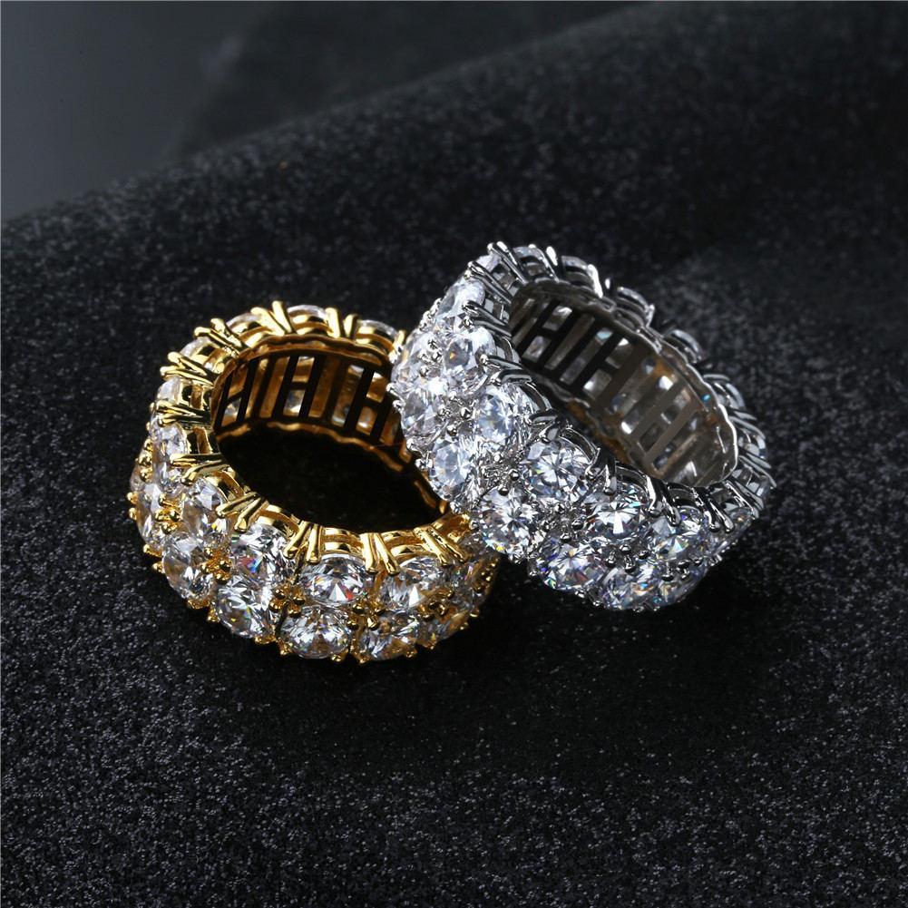 Ringe Schmuck Mode Hohe Qualität Gold Silber Überzogene Kreis Hiphop Cluster Ringe Großhandel Luxus Volle Hochwertige Zirkon Fingerringe LR003