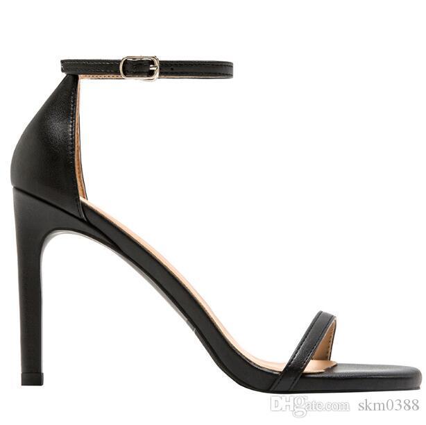 Neue Saison mit Box Sexy Frauen High Heels offenen Zehen Sandalen echtes Leder Partei Hochzeitskleid Schuhe Mode Dame Stilettferse