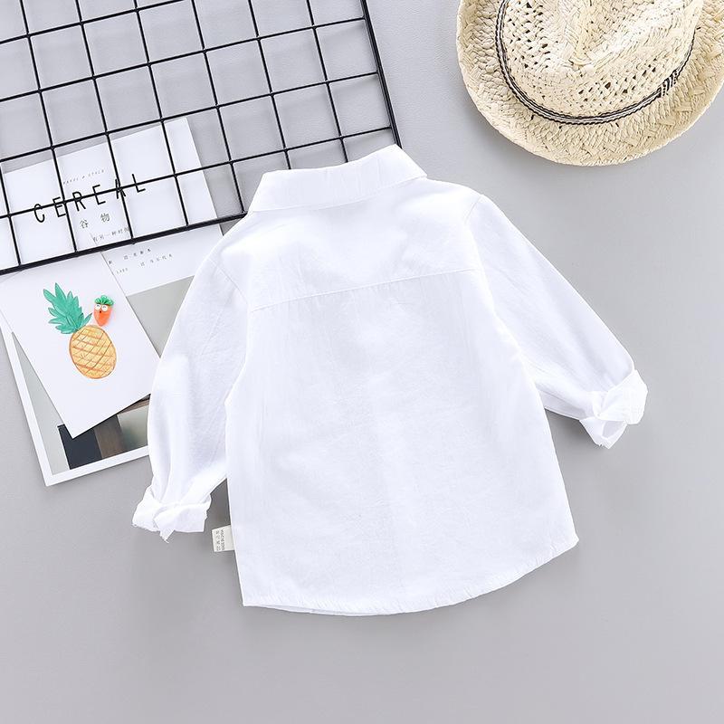 BOY'S Shirt 2019 Korean-style BOY'S Long-sleeve Shirt Baby CHILDREN'S Shirt Autumn Solid Color Tops
