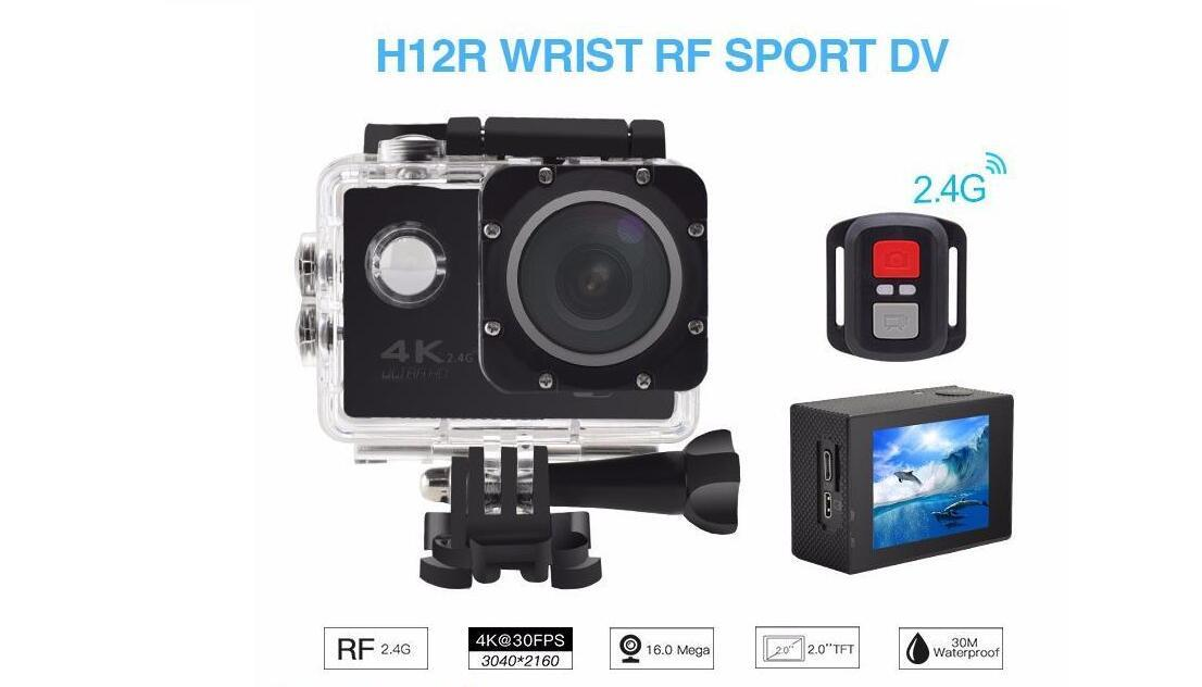 New RF 2.4 Remote Control 4K 30FPS Sport DV H12R 30M Waterproof Action Camera WIFI Control 2.0'' Display Sport Camera fine retail packag