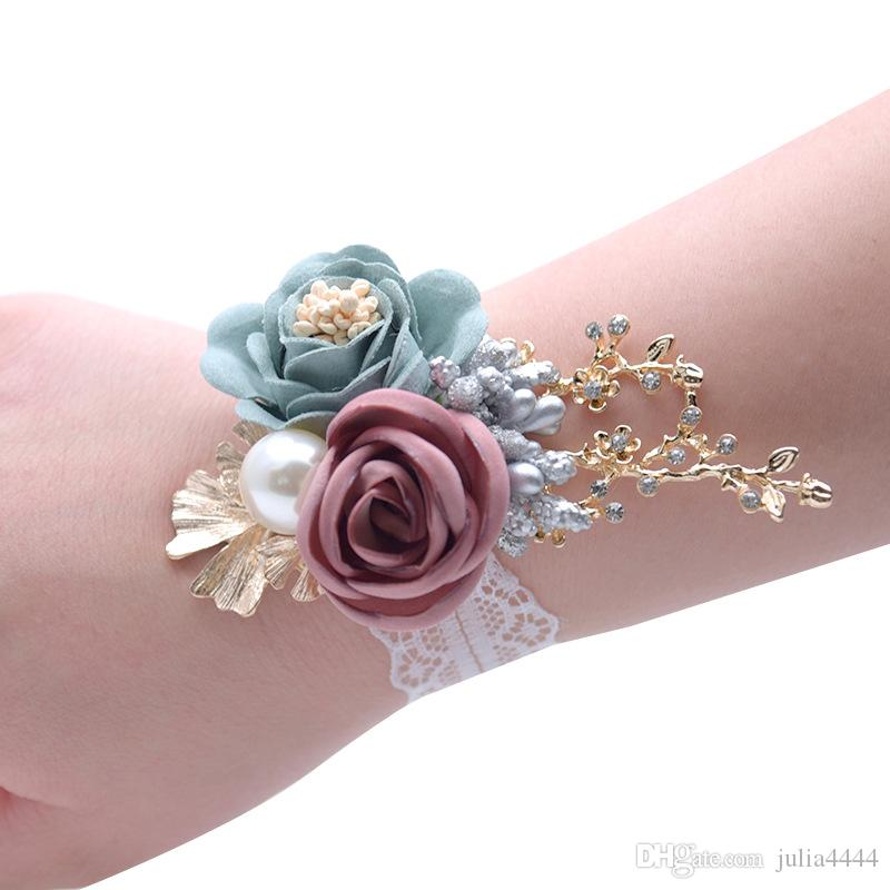 Wedding Wrist Flowers Bridesmaid Silk Rose corsages Hand Flower Artificial Flowers For Wedding Decoration 5 Colors