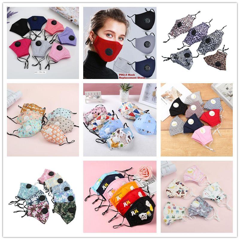 Mais recente filhos adultos máscara com filtro de respiração válvula PM2.5 boca rosto de algodão Máscara Máscara Dustproof protecção Máscaras dos desenhos animados laváveis