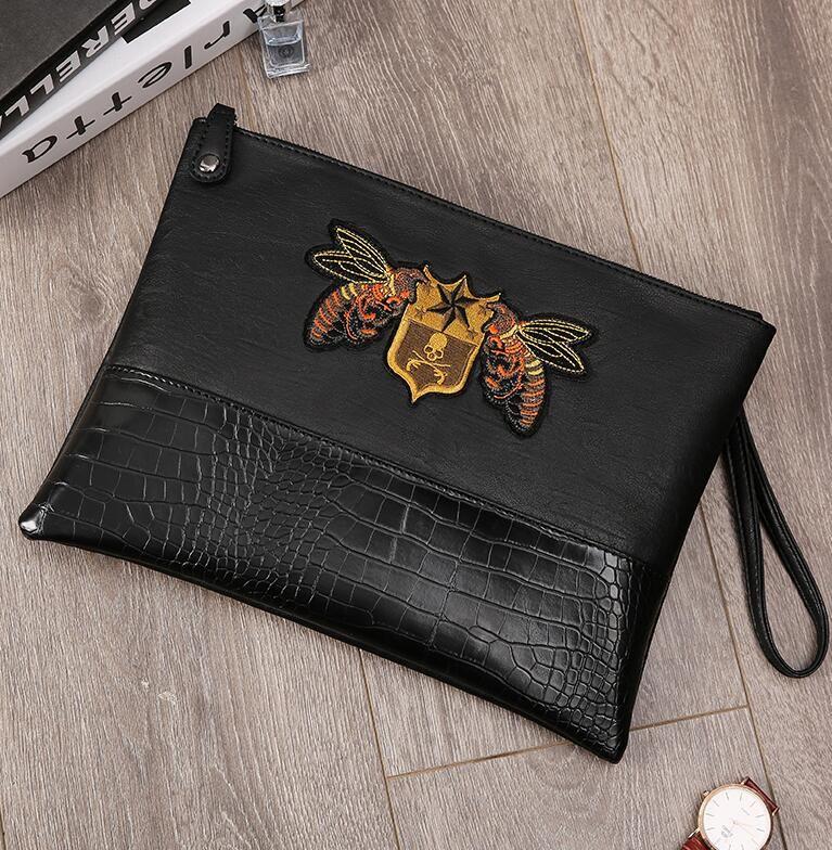 Factory wholesale brand men bag street fashion embroidery men wrist bag fashion printing shoulder Messenger bag personality crocodile leathe