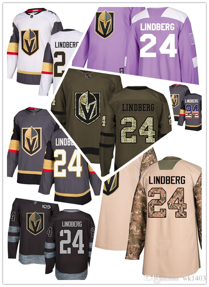 c15b1c5ab Vegas Golden Knights jerseys #24 Oscar Lindberg jersey hockey team men women  gray white black Authentic winter classic Stiched gears Jersey