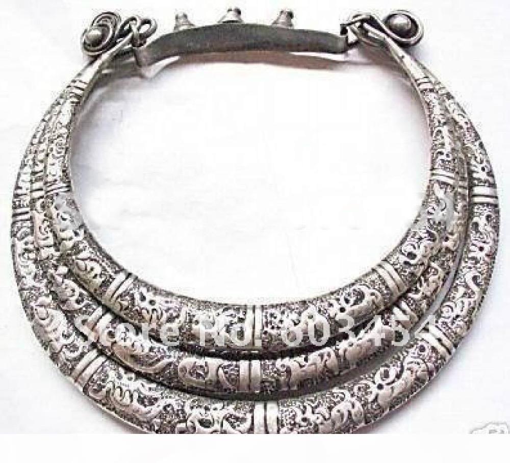 горячий продавать новый бесплатная доставка племенной экзотический китайский ручной работы превосходно воротник де-Плата 3row Тибетского серебра Мяо Серебряное ожерелье