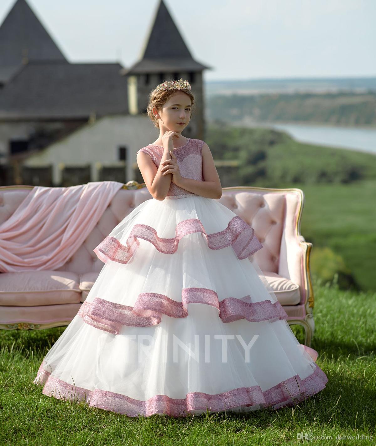 Beauty White/Pink Layers Beads Girl's Pageant Dresses Flower Girl Dresses Holidays/Birthday Skirt Princess Skirt Custom Size 2-14 F113163