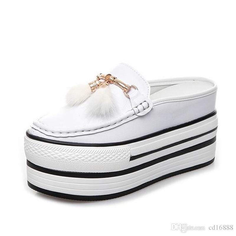 2019 nuevos zapatos de plataforma de primavera y verano, cuñas, zapatillas, fondo grueso, tacones altos, zapatos de cuero genuino, sandalias casuales para mujer