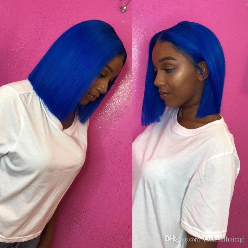 Blue Short Bob Human Hair Full Lace Wigs Pre Plucked With Baby Hair Cheap Brazilian Short Lace Front Wigs For Black Women