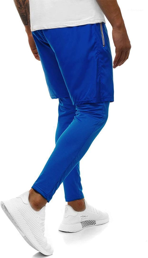 Double sport Layer Pantalons Fitness Hommes Vêtements 2020 Nouveau Pantalon Designer Hommes Casual Solide Couleur
