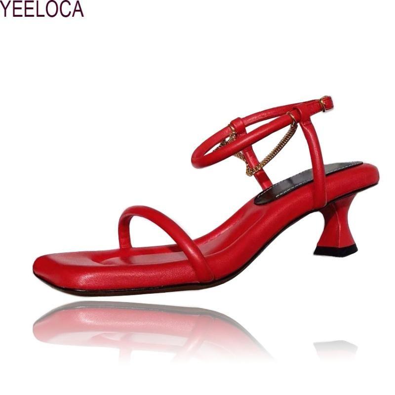 nova das mulheres de salto alto sandálias de verão ocasional meados de 2020 das mulheres do sexo feminino sapatos de salto da sandália com salto cadeia de 5 cm de alta qualidade!