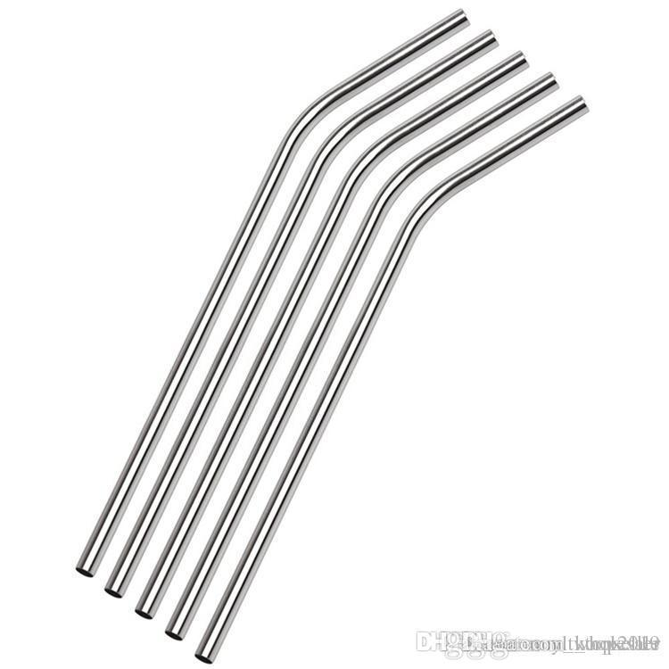 """DHL Ücretsiz kargo 100pcs / lot Paslanmaz Çelik Hasır Çelik Payet 8.5"""" Yeniden kullanılabilir ECO Metal Straw Bar İçecekler Parti Stag İçme İçme"""