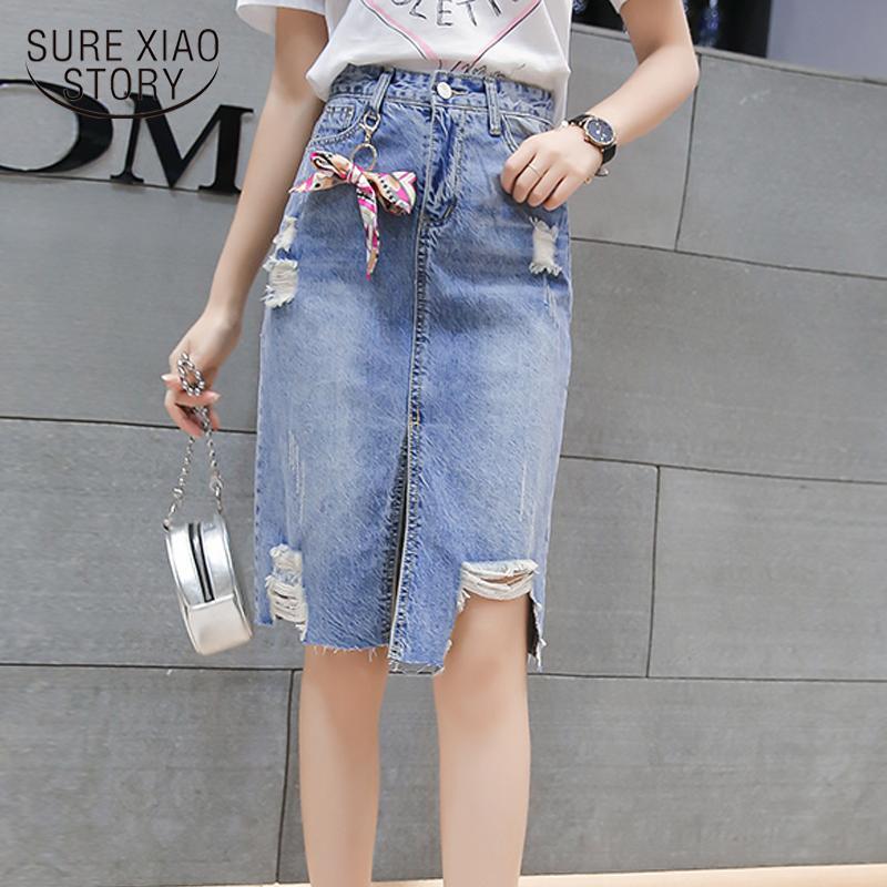 New Jean Jupe mi-longue Printemps 2019 taille haute jupe femme denim Denim Crayon A-Line Longueur au genou Empire 1965 50