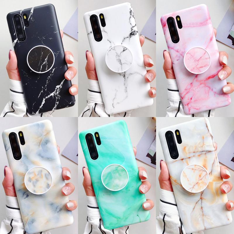 Personalized TPU Stone Cover Phone Holder Grip Sockets Stand Marble Case for Huawei Mate 20 lite P20 P30 Pro Nova 4e/3e/3i